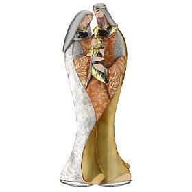 Sacra Famiglia abbraccio statua metallo h 36 cm s1
