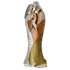 Sacra Famiglia abbraccio statua metallo h 36 cm s3