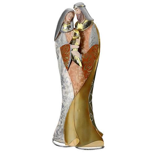 Sacra Famiglia abbraccio statua metallo h 36 cm 3