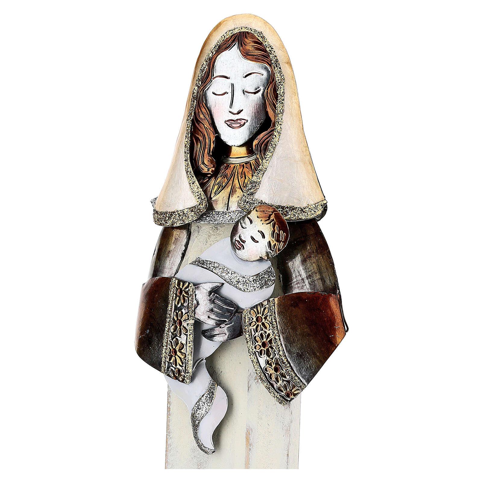 Sacra Famiglia stilizzata set due statuette metallo h 63 cm 4