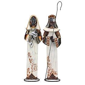 Sacra Famiglia stilizzata set due statuette metallo h 63 cm s1