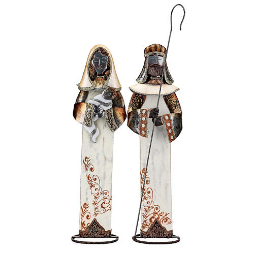 Sacra Famiglia stilizzata set due statuette metallo h 63 cm 1