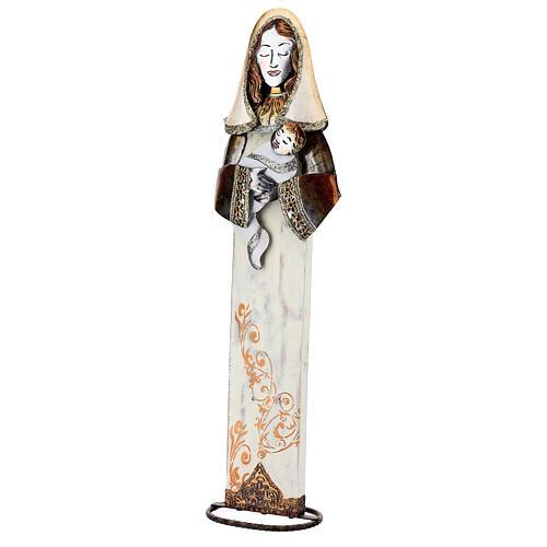 Sacra Famiglia stilizzata set due statuette metallo h 63 cm 3