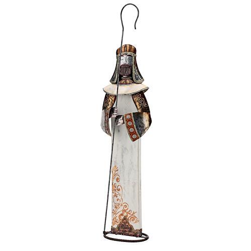 Sacra Famiglia stilizzata set due statuette metallo h 63 cm 6