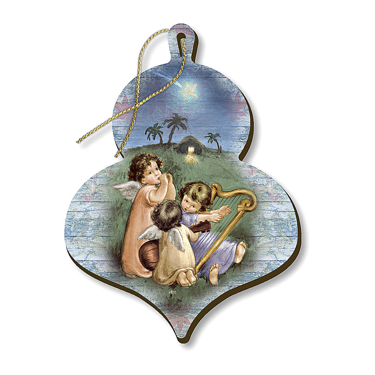 Wooden Christmas ornament, Musical angels 4