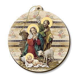 Christmas tree ornaments in wood and pvc: Christmas decoration in wood, Holy Family