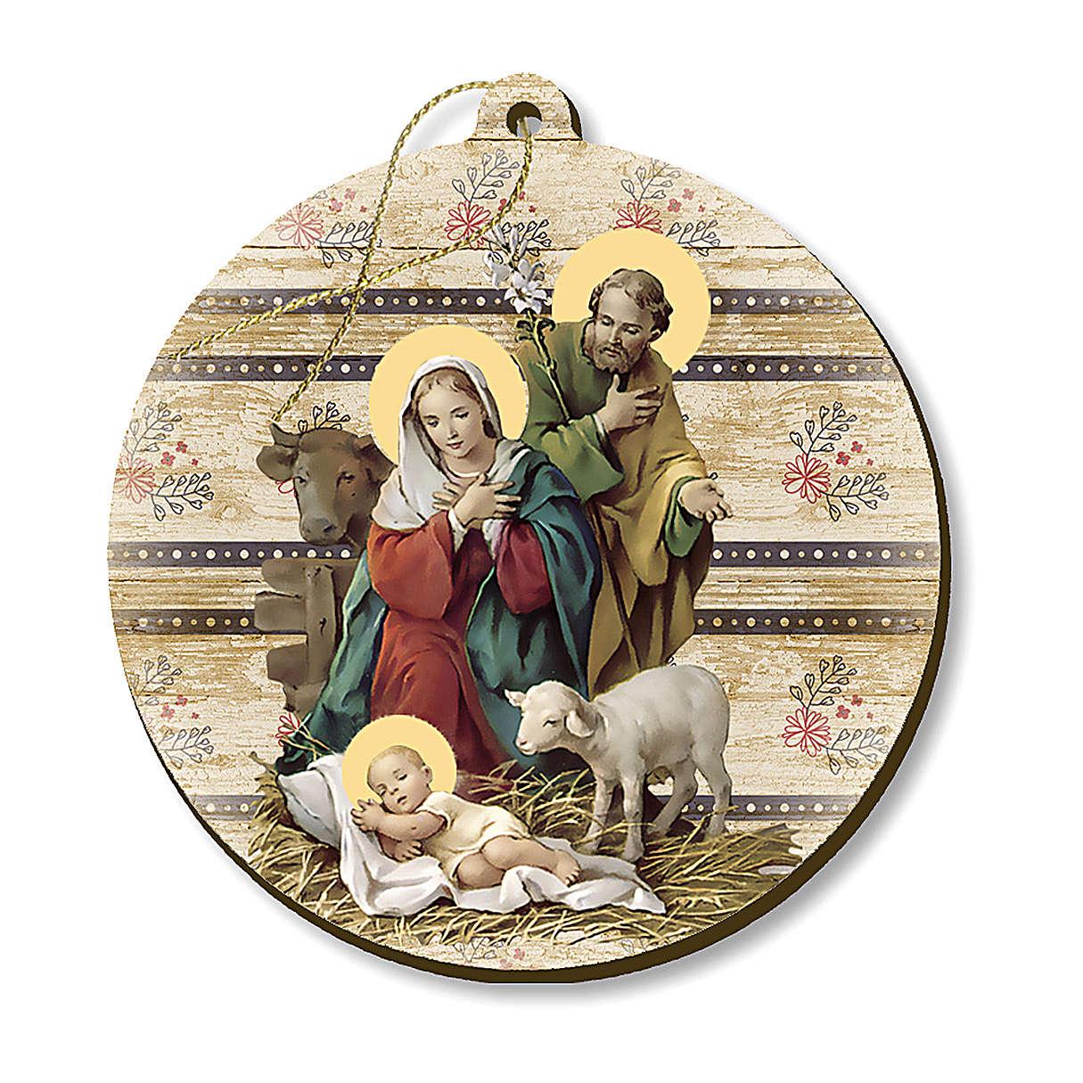 Adorno de Natal madeira moldada com imagem Presépio 4