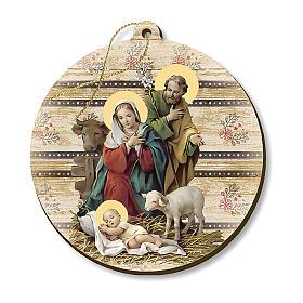 Adorno de Natal madeira moldada com imagem Presépio s1