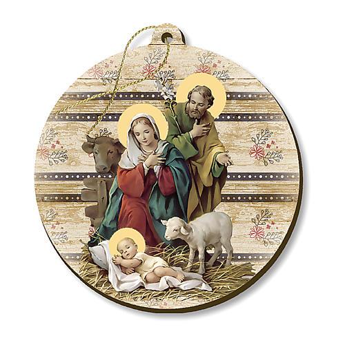 Adorno de Natal madeira moldada com imagem Presépio 1