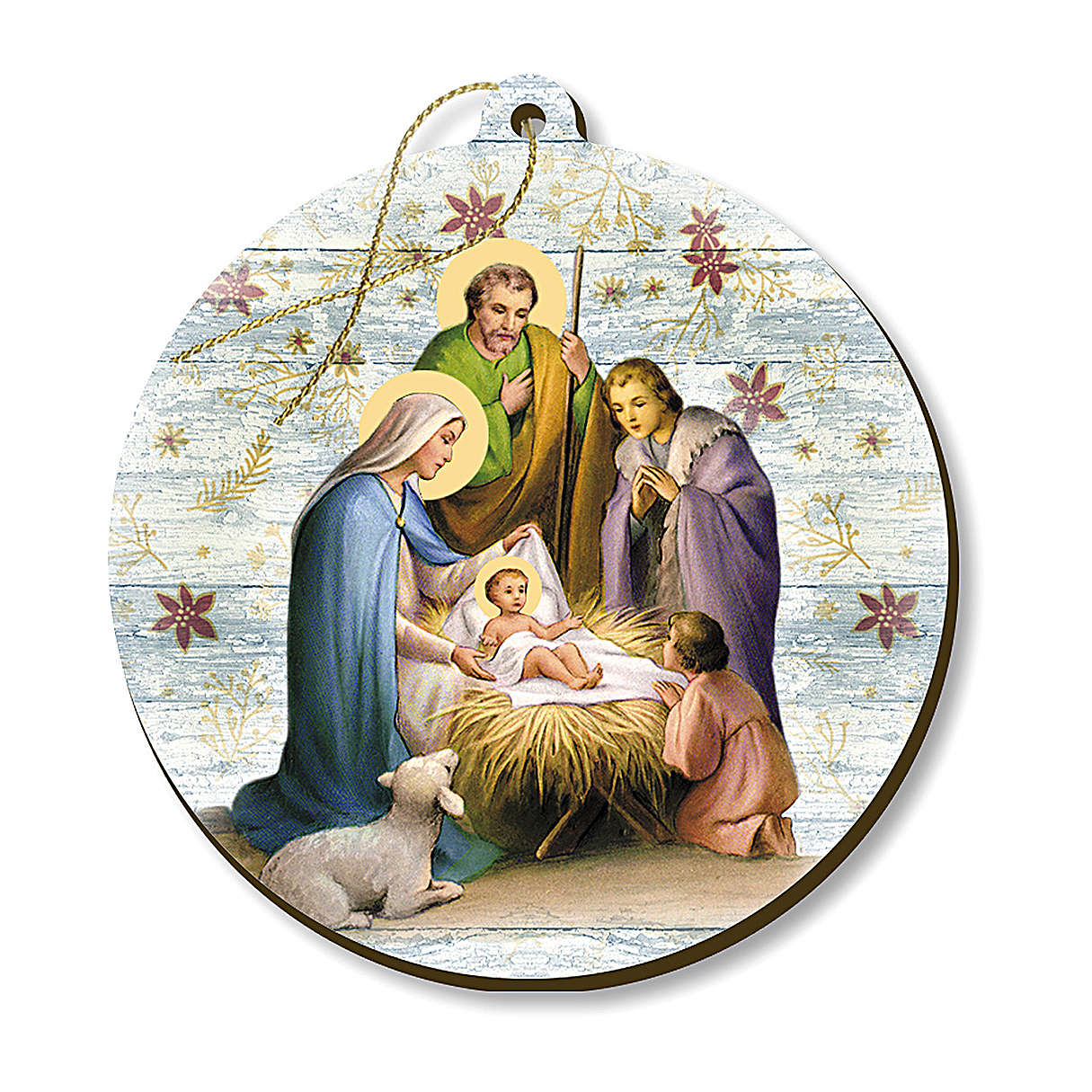 Christmas decoration in wood, Nativity scene with shepherds 4