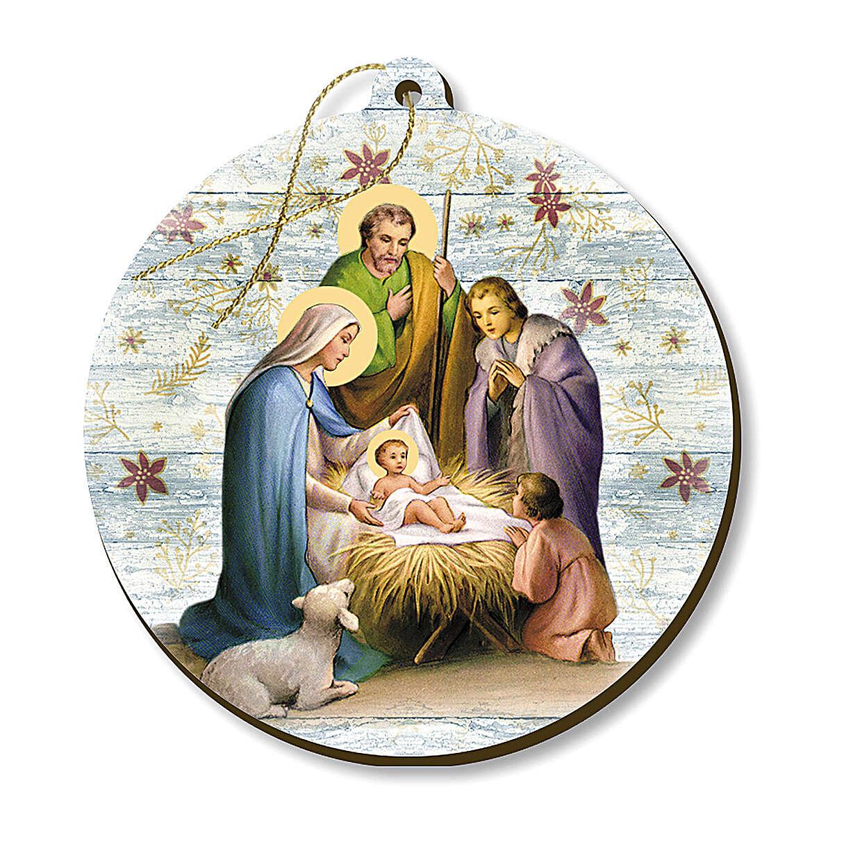 Wooden Christmas tree ornament, Nativity scene with shepherd 4