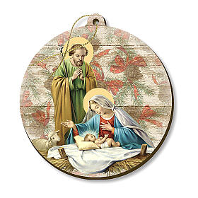 Vintage wooden Christmas ornament, Nativity scene s1