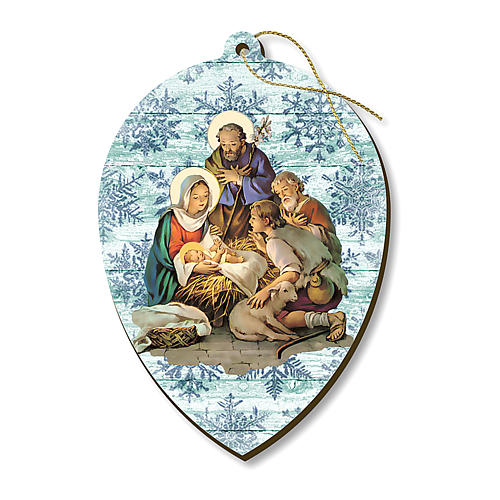 Christmas decoration in wood, Nativity with shepherds 1