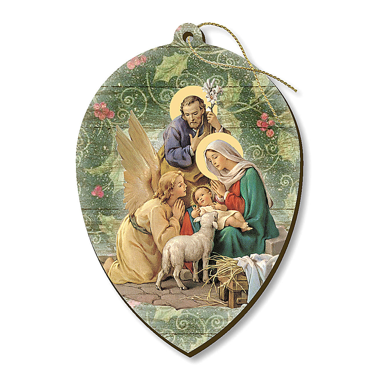 Wooden Christmas tree ornament, Nativity with angels 4