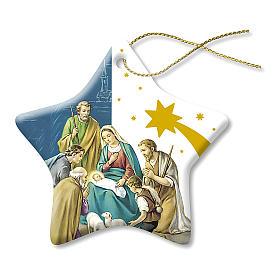 Adornos de madera y pvc para Árbol de Navidad: Decoración Navideña de Cerámica Belén Natividad