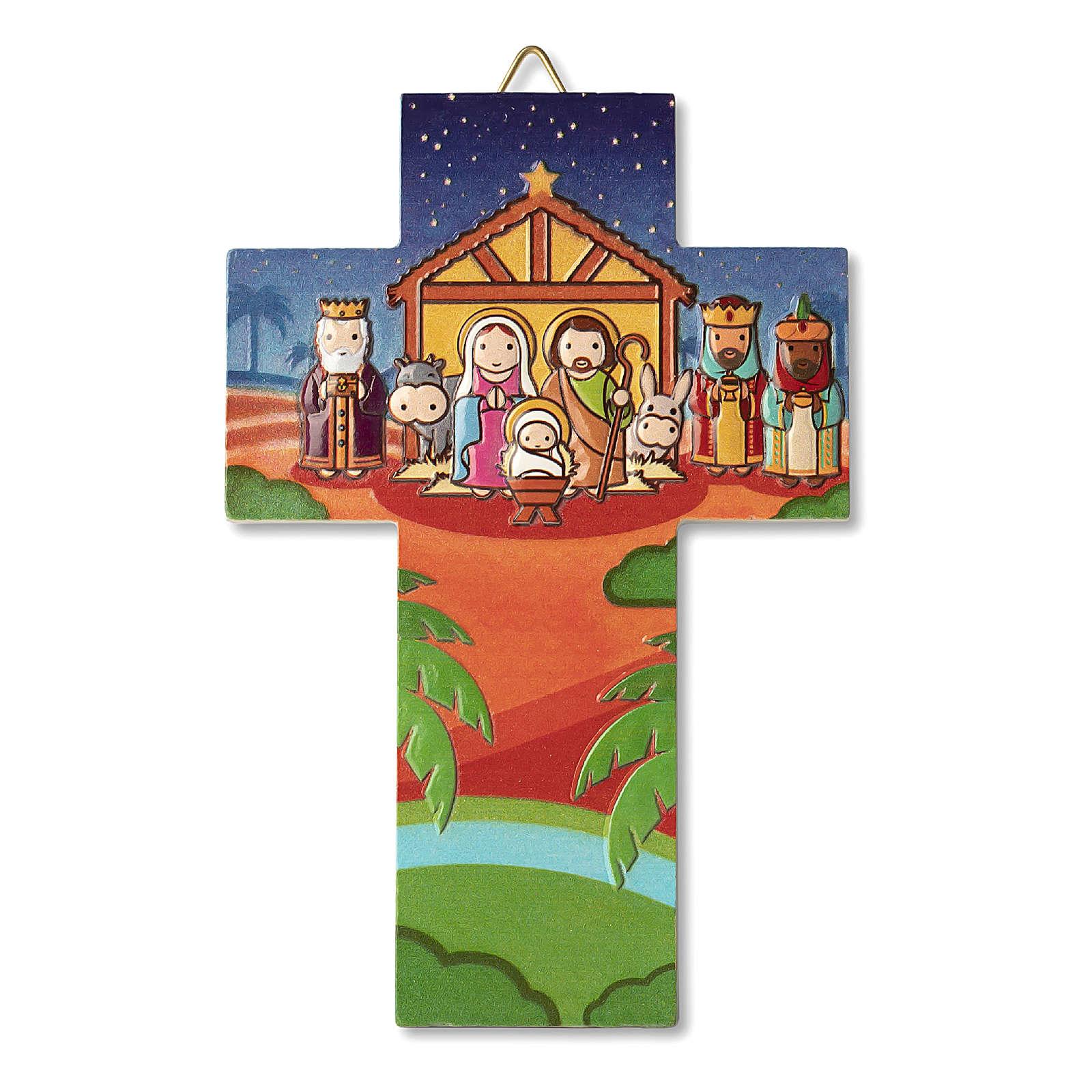 Decorazione Natalizia a Croce Presepe preghiera Vieni Bambino Gesù 3