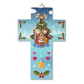 Décoration de Noël en croix crèche prière Noël chaque fois que tu souris s1