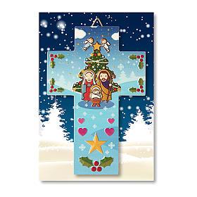 Décoration de Noël en croix crèche prière Noël chaque fois que tu souris s3