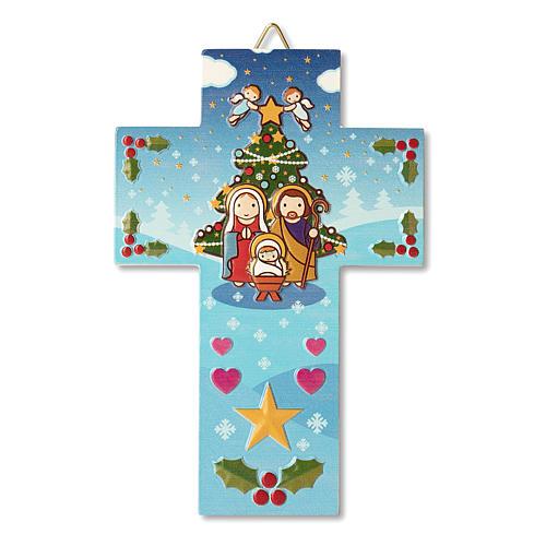 Décoration de Noël en croix crèche prière Noël chaque fois que tu souris 1