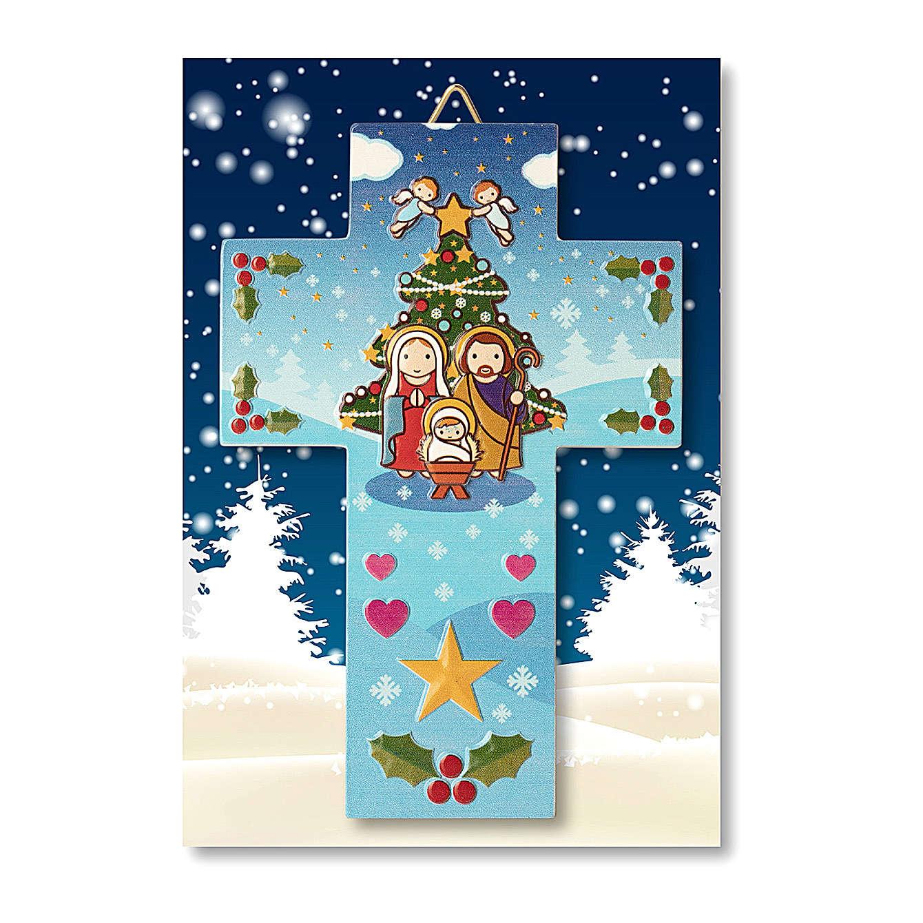 Decorazione di Natale a Croce Presepe preghiera Natale ogni volta che sorridi 3