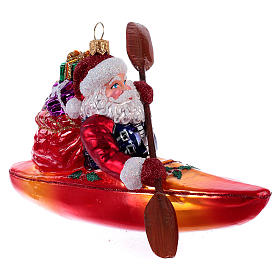 Decorazioni vetro soffiato per albero: Babbo Natale sul Kayak addobbo Albero Natale vetro soffiato