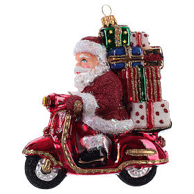 Blown glass ornaments: Christmas tree decoration Santa Claus on a motor-scooter in blown glass