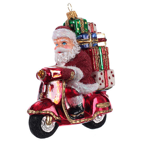 Santa Claus Riding a Scooter blown glass Christmas ornament 2