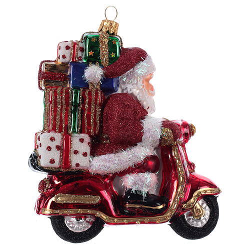 Santa Claus Riding a Scooter blown glass Christmas ornament 3