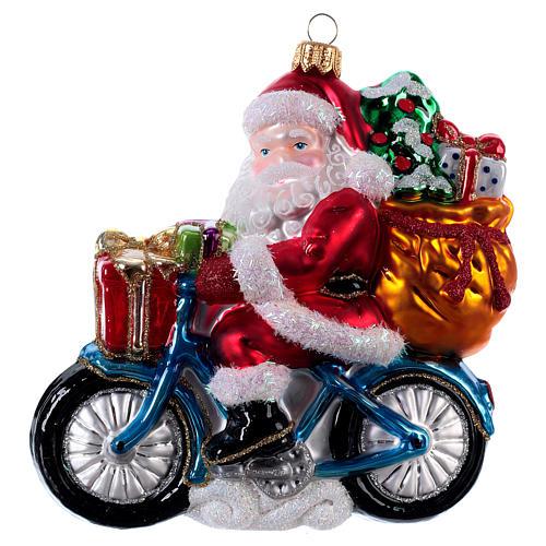 Babbo Natale In Bicicletta.Babbo Natale In Bicicletta Addobbo Albero Natale Vetro Soffiato