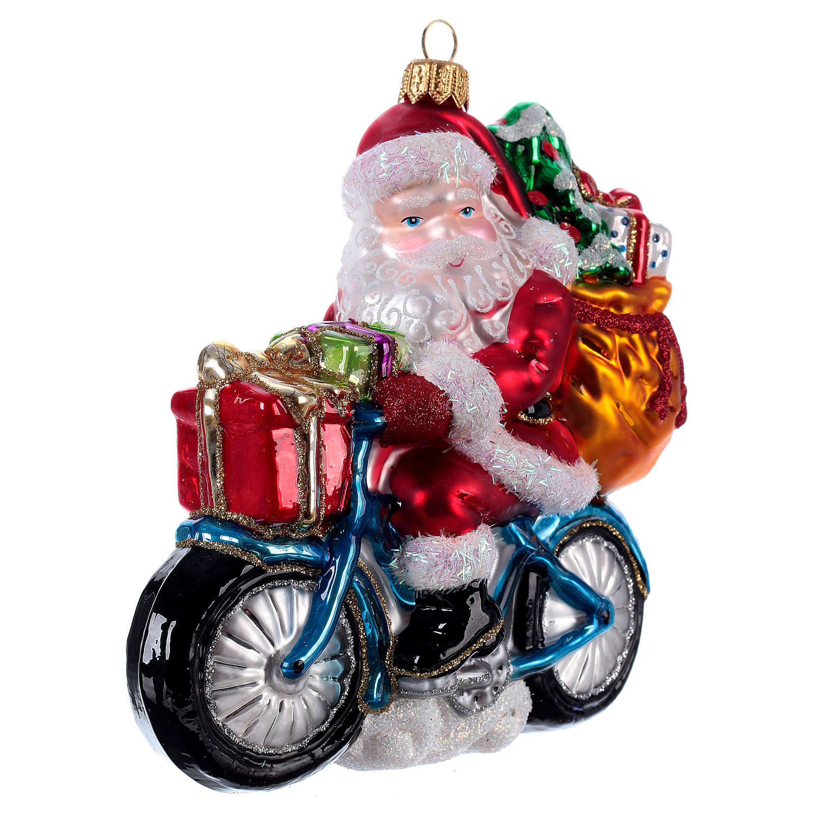 Santa Claus Riding a Bicycle Christmas ornament 4