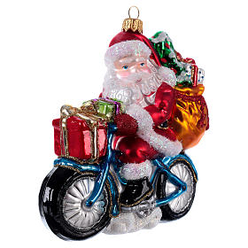 Santa Claus Riding a Bicycle Christmas ornament s2
