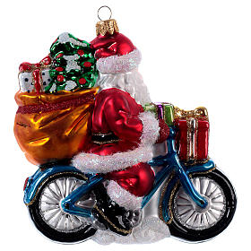 Santa Claus Riding a Bicycle Christmas ornament s3