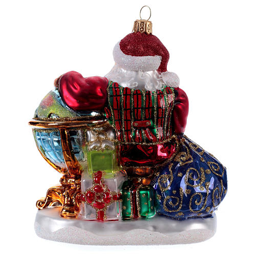Christmas tree decoration Santa Claus with globe in blown glass 3