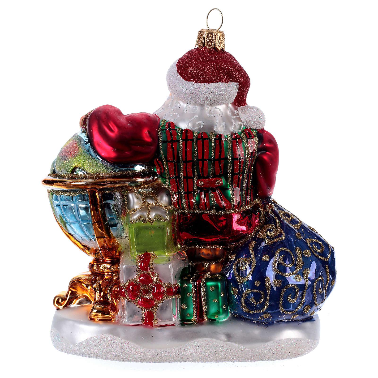 Père Noël avec mappemonde décoration Sapin Noël verre soufflé 4