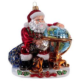 Père Noël avec mappemonde décoration Sapin Noël verre soufflé s1