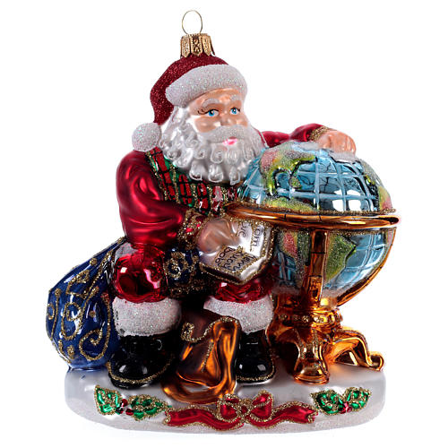 Père Noël avec mappemonde décoration Sapin Noël verre soufflé 1