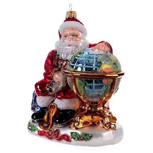 Père Noël avec mappemonde décoration Sapin Noël verre soufflé 2