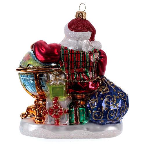 Père Noël avec mappemonde décoration Sapin Noël verre soufflé 3