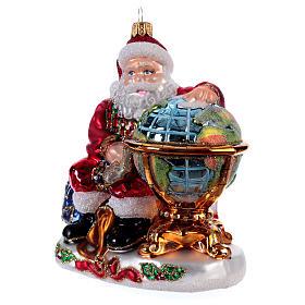 Babbo Natale con Mappamondo addobbo vetro soffiato Albero Natale s2