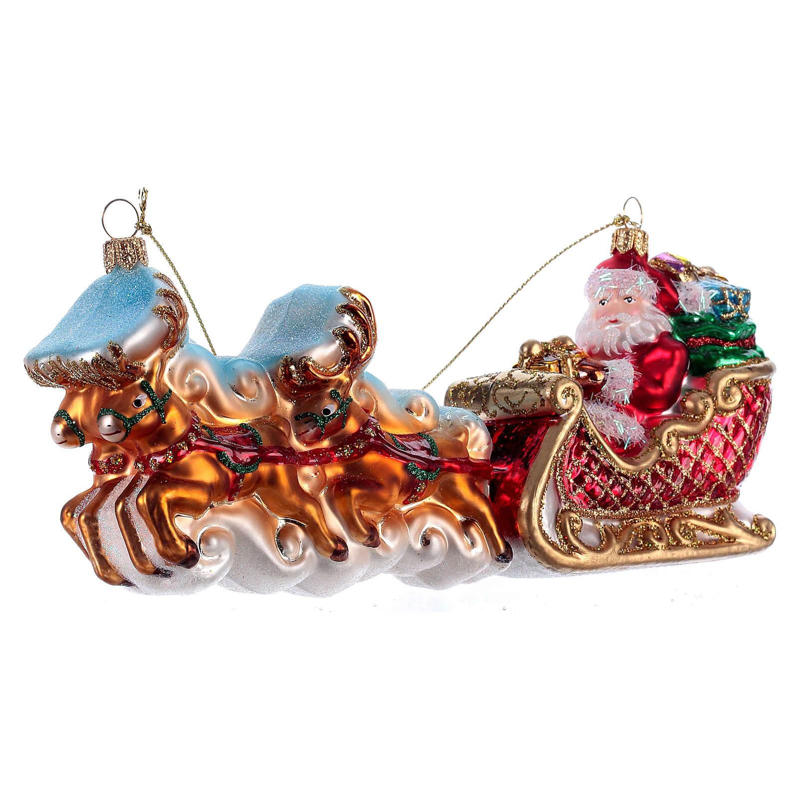 Christmas tree decoration Santa Claus with reindeers in blown glass 4
