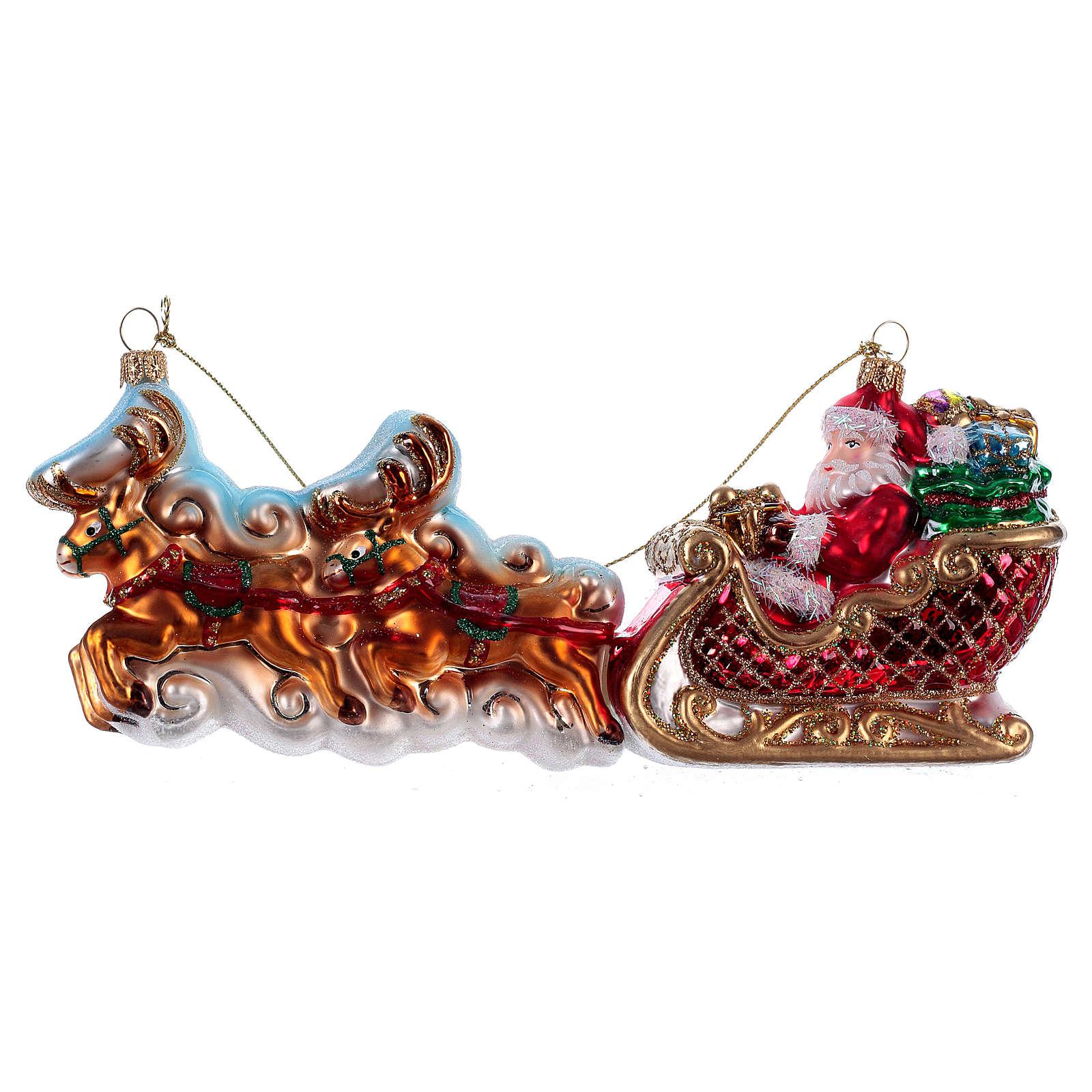 Père Noël avec rennes décoration Sapin Noël verre soufflé 4