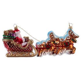 Père Noël avec rennes décoration Sapin Noël verre soufflé s4