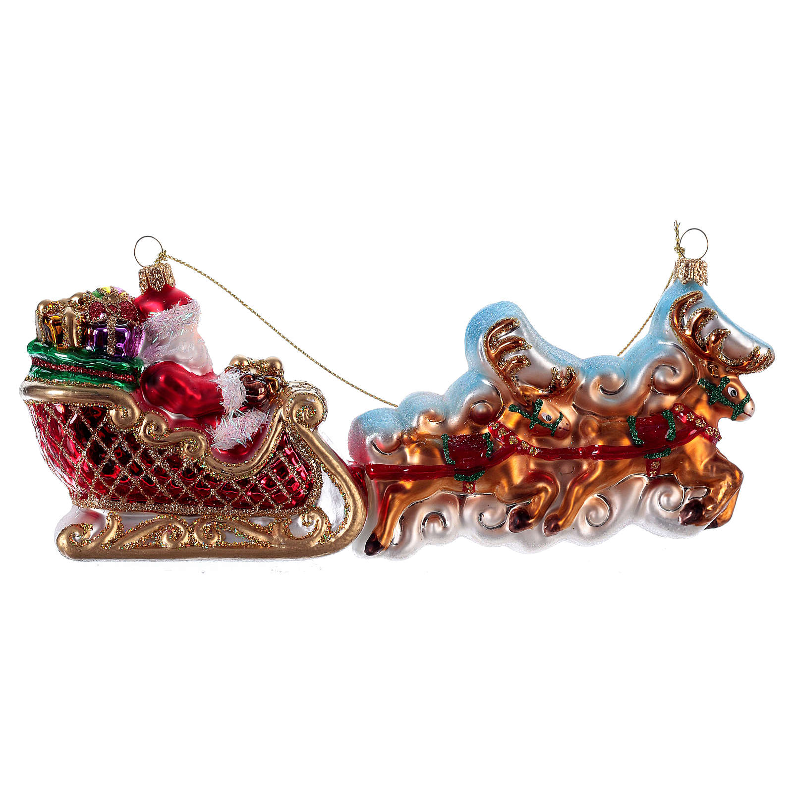 Santa Claus with Reindeer Sleigh Christmas tree blown glass decoration 4