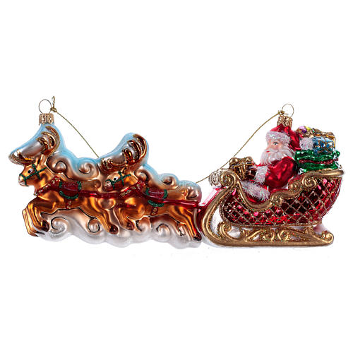 Santa Claus with Reindeer Sleigh Christmas tree blown glass decoration 1