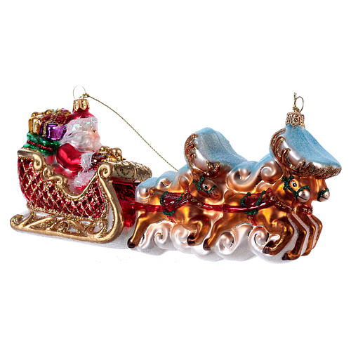 Santa Claus with Reindeer Sleigh Christmas tree blown glass decoration 3