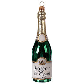 Bouteille de Prosecco décoration verre soufflé Sapin Noël s1