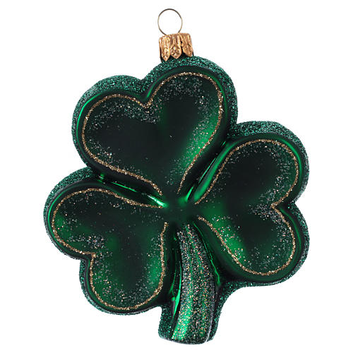 Trébol decoración árbol de Navidad símbolo Irlanda de vidrio soplado 1