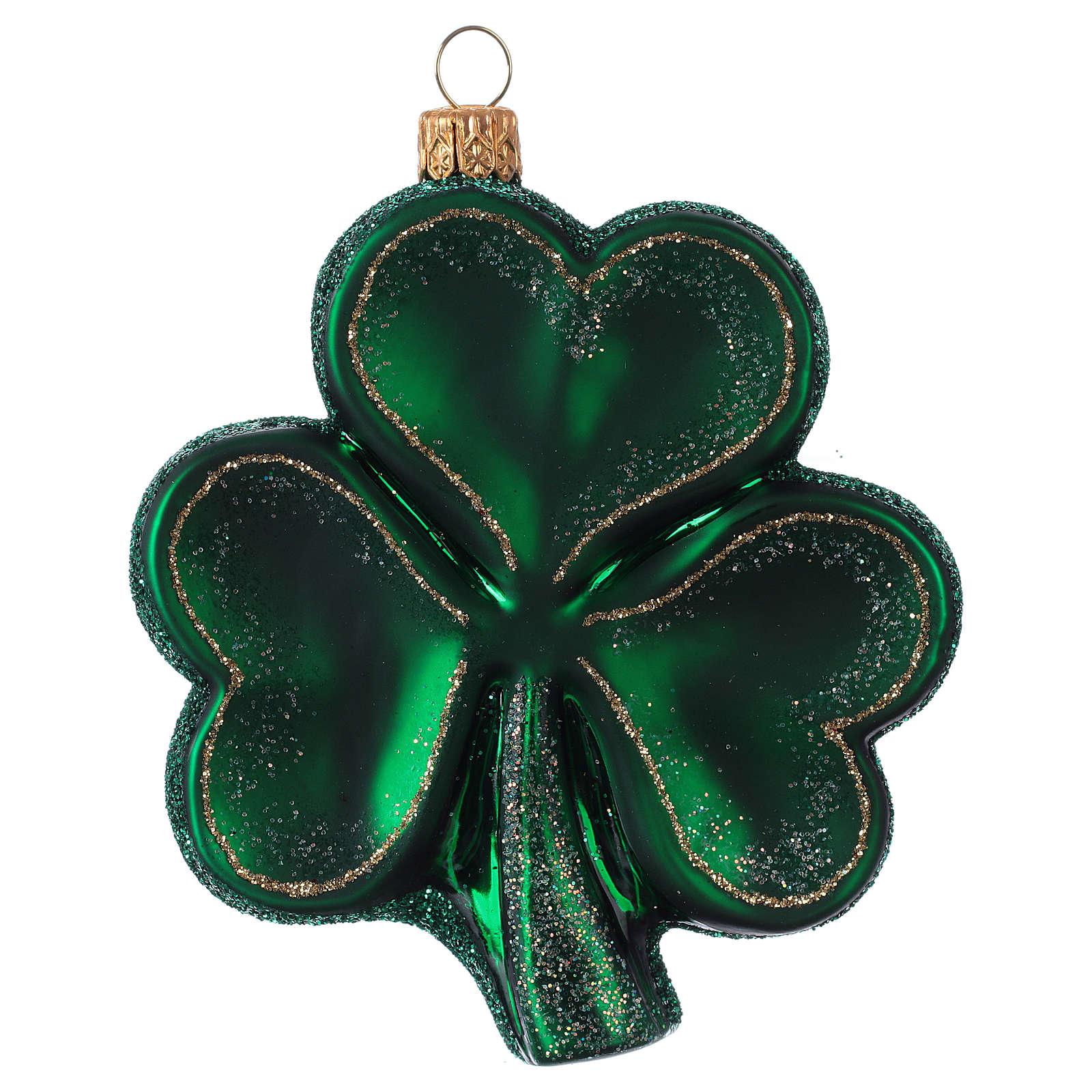 Trifoglio Irlanda decorazione albero Natale in vetro soffiato 4
