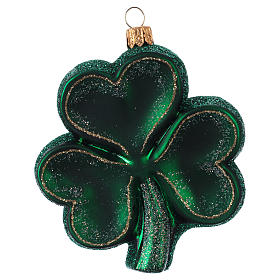 Trifoglio Irlanda decorazione albero Natale in vetro soffiato s1