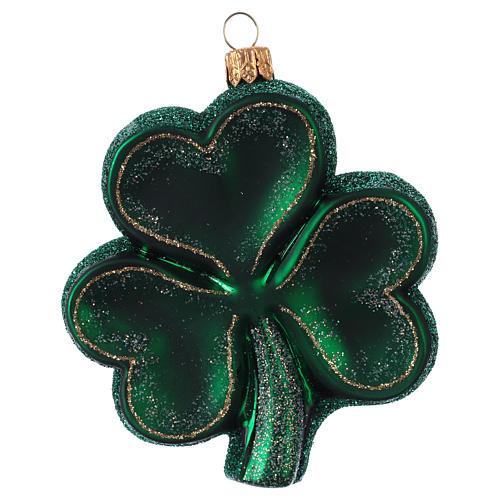 Trifoglio Irlanda decorazione albero Natale in vetro soffiato 1